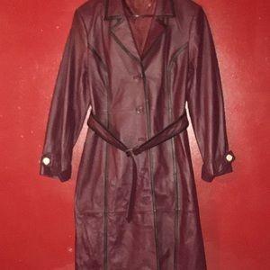 New Full length Leather Coat w/belt & pockets